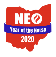 Logo for Northeast Ohio Year of the Nurse 2020. Image of the State of Ohio in red, with a blue banner.