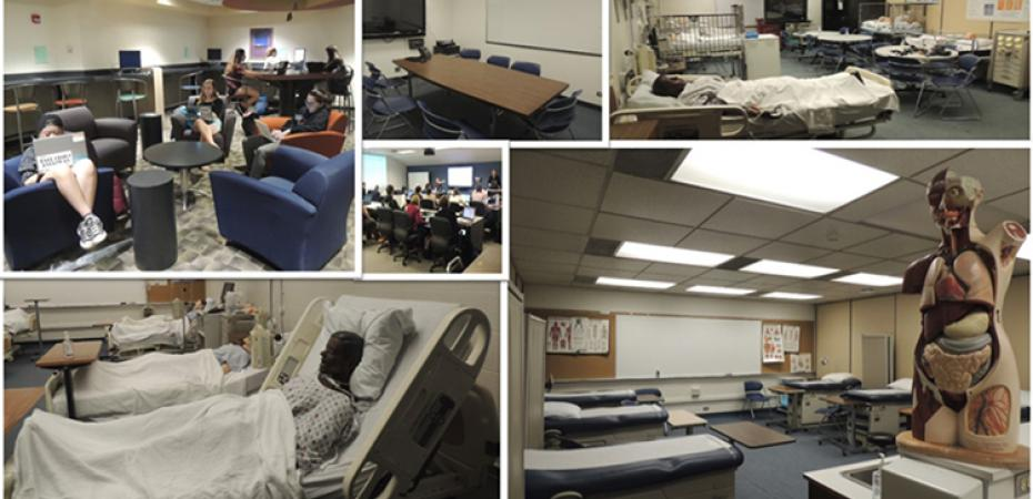 Collage displaying the different learning spaces the Center has to offer.