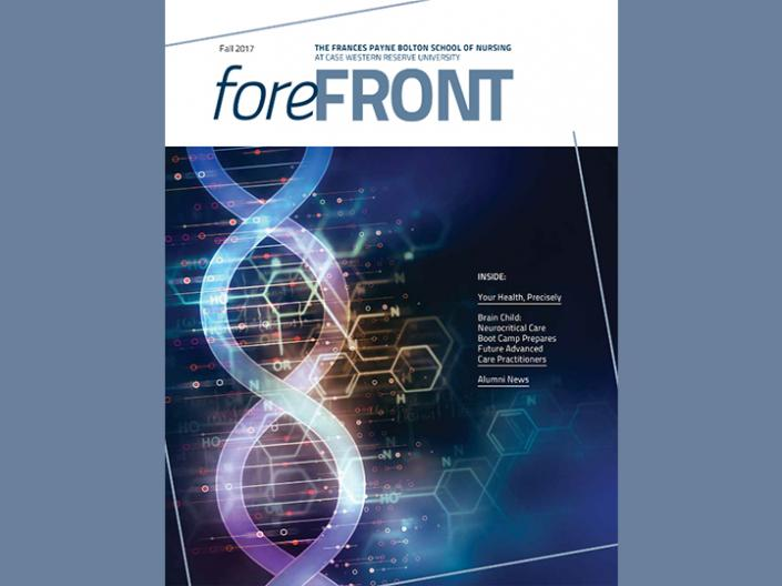 Picture of the front cover of the Fall 2017 Forefront Magazine. The image is of a graphic of a strand of DNA.