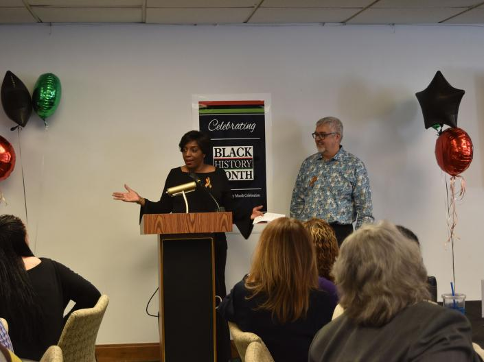 Diversity and Inclusion Committee Co-Chairs Dedra Hanna Adams and Joachim Voss present at the 2019 Black History Month Celebration at the Frances Payne Bolton School of Nursing at Case Western Reserve University in Cleveland, Ohio.