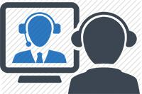Cartoon photo of two subjects having a video conference