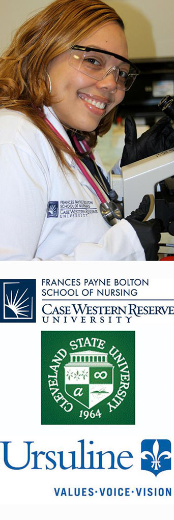 Photo of a CWRU FPB student smiling by a microscope.