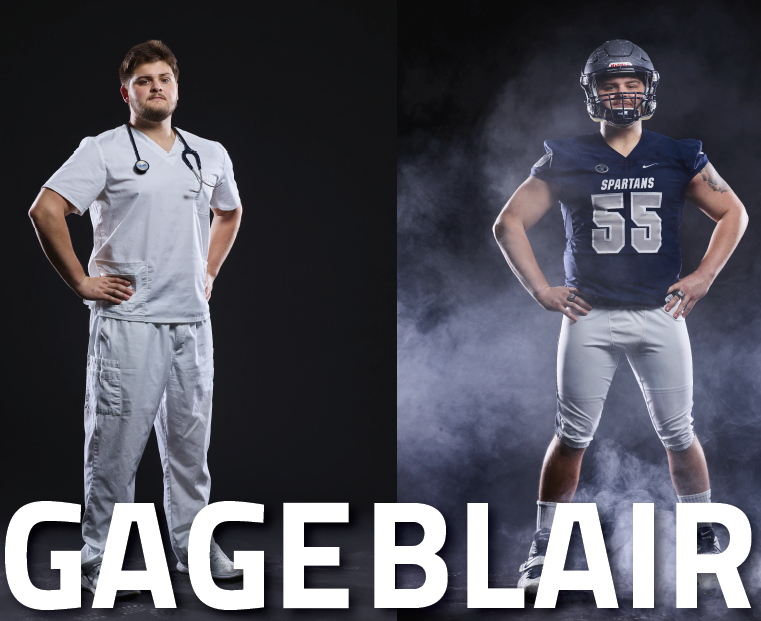 Two photo collage of nursing student-athlete Gage Blair, BSN. One photo he is wearing his nursing scrubs, and the other he is wearing his CWRU football gear.