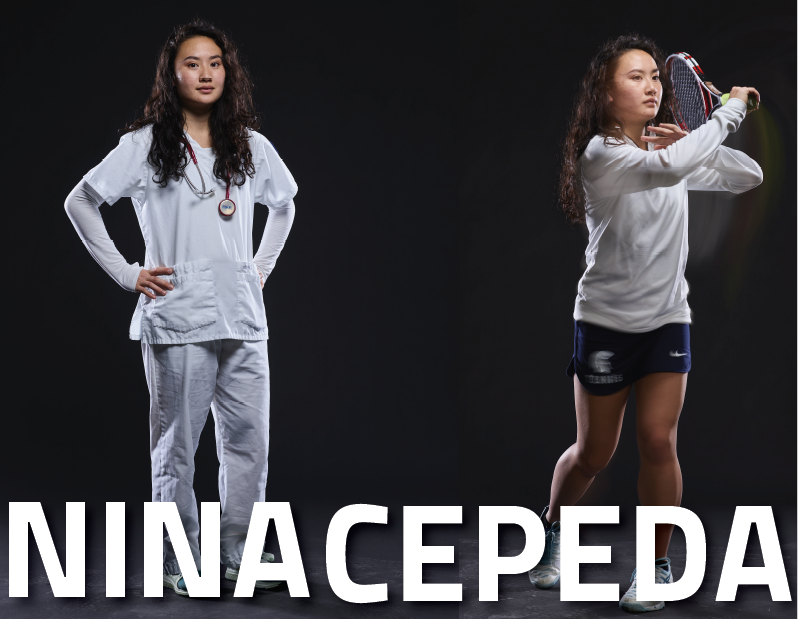 Two photo collage of nursing student-athlete Nina Cepeda. One picture is of Nina in her nursing scrubs, and the other is in her CWRU tennis gear.