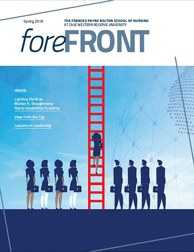 Cover of the Spring 2019 issues of Forefront magazine, the central publication of the Frances Payne Bolton School of Nursing at Case Western Reserve University.