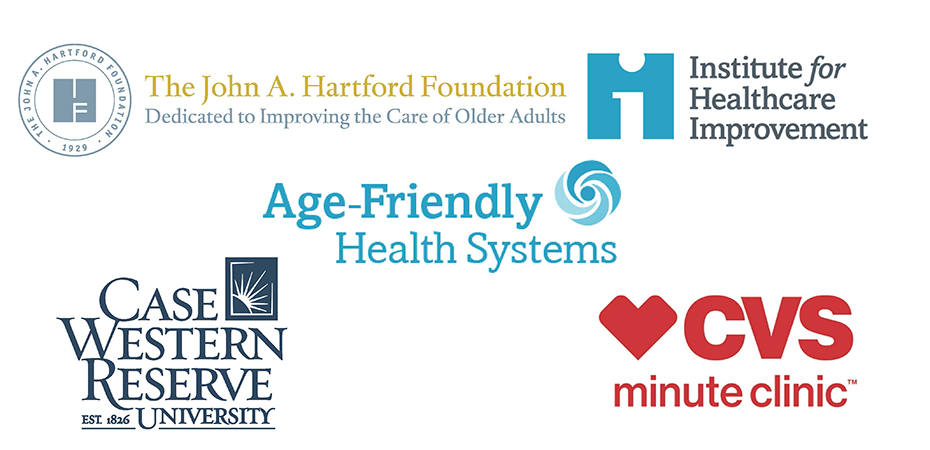 Collection of logos for the Age-Friendly Health Systems Ambulatory Care Continuum Study. CVS, IHI, CWRU, and John A. Hartford Foundation.