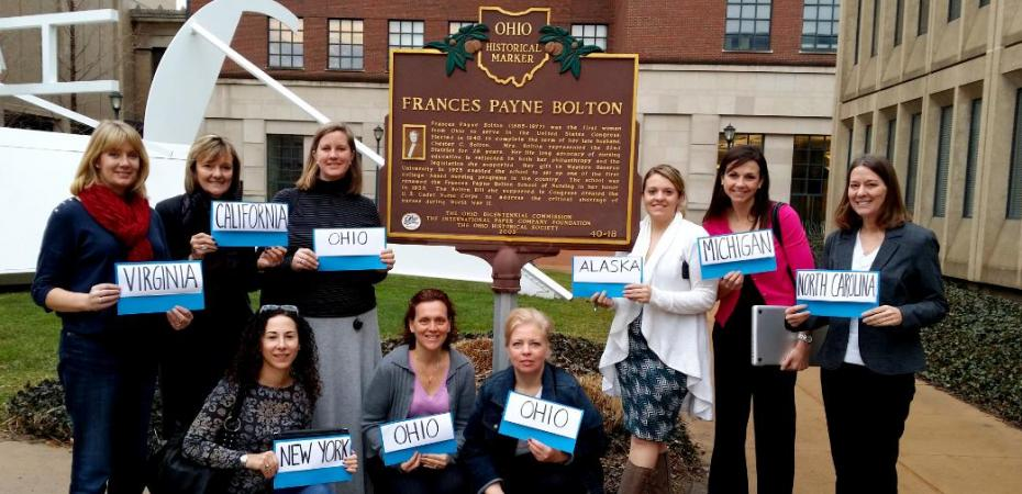 DNP Students gather in front of the historical marker outside the Frances Payne Bolton School of Nursing at Case Western Reserve University in Cleveland, Ohio. doctorate nursing, nursing doctorate