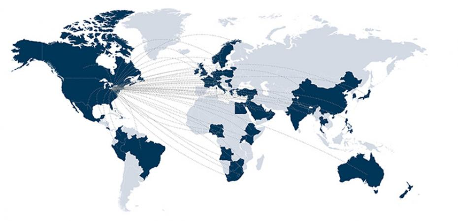 World map depicting where current CWRU FPB students and alumni have traveled.