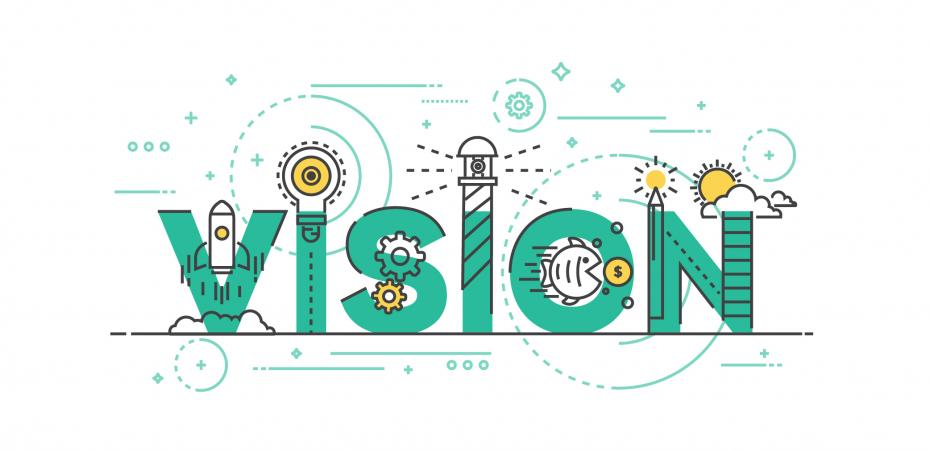 "Graphic of the word ""vision"" to illustrate the 5 key components of the Marian K. Shaughnessy Nurse Leadership Academy at the Frances Payne Bolton School of Nursing at Case Western Reserve University in Cleveland, Ohio, one of the best nursing schools in the nation."
