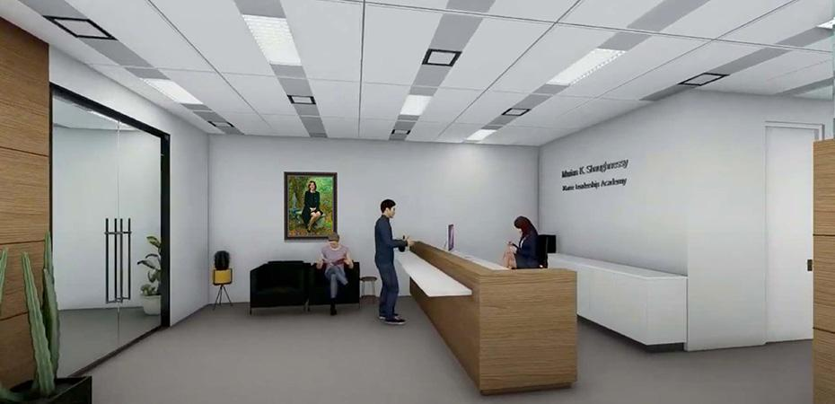 Artist's rendering of the a new office space.
