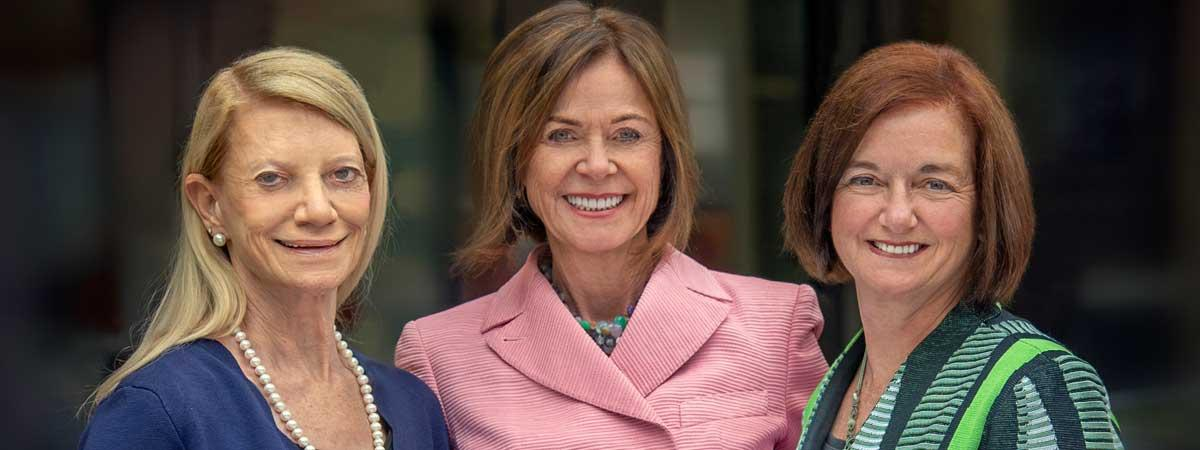 Photo of Frances Payne Bolton School of Nursing Professor Joyce Fitzpatrick, alumna Marian Shaughnessy and Dean Mary Kerr