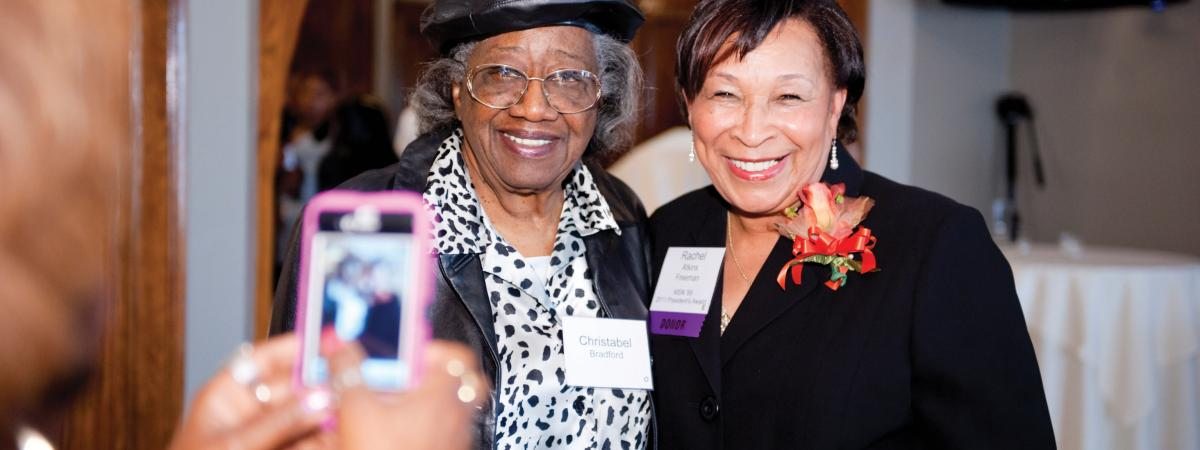 Alumnae of the Frances Payne Bolton School of Nursing at Case Western Reserve University in Cleveland, Ohio, pose for a photo at the 2017 homecoming and reunion events. The nursing school is one of the top nursing schools in the United States.