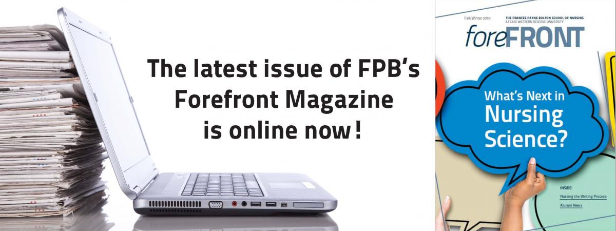 Message announcing the latest issue of Forefront Magazine is available online.