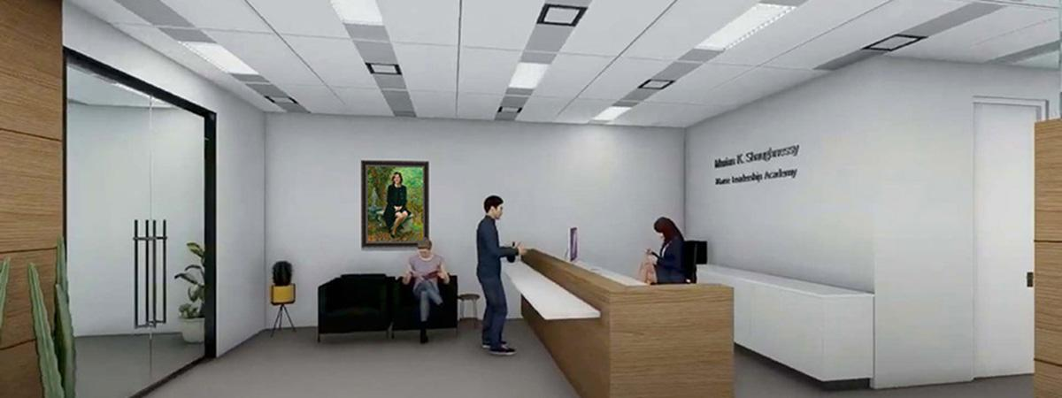 Artist's rendering of a new office space.