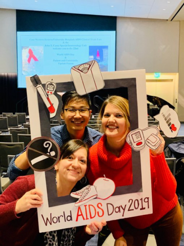 Nurse researchers pose for a photo on World AIDS Day 2019.