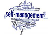 Photo of the phrase Self Management surrounded by smaller related words.