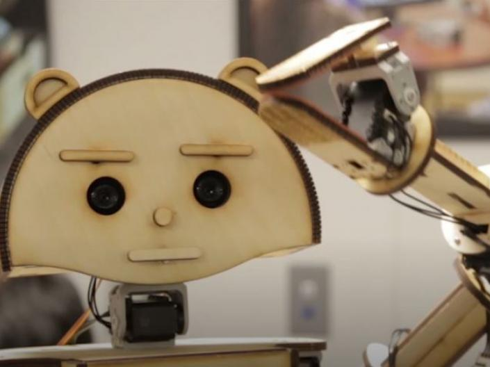 Picture of Woody the plywood-based robot created by researchers in the Smart Living Lab at the University Center on Aging and Health at Case Western Reserve University in Cleveland, Ohio.