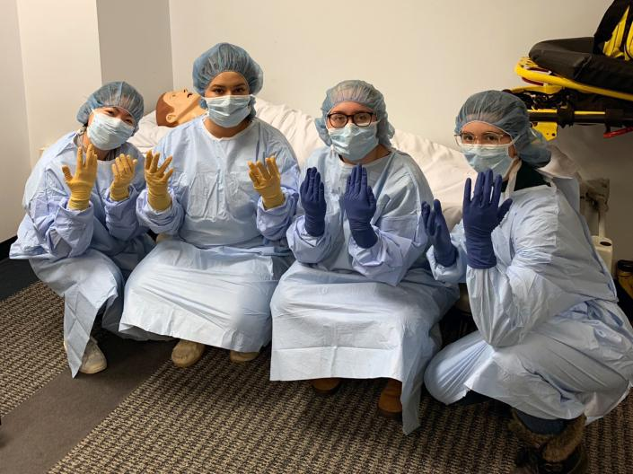 BSN students at the Frances Payne Bolton School of Nursing at Case Western Reserve University all suited up for clinical lab practice.