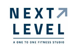 Next Level stacked logo with the word Next on top with an arrow and Level under Next
