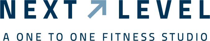 Next Level horizontal membership with the words Next Level on the top, a line underneath and the words A One to One Fitness Studio under the line