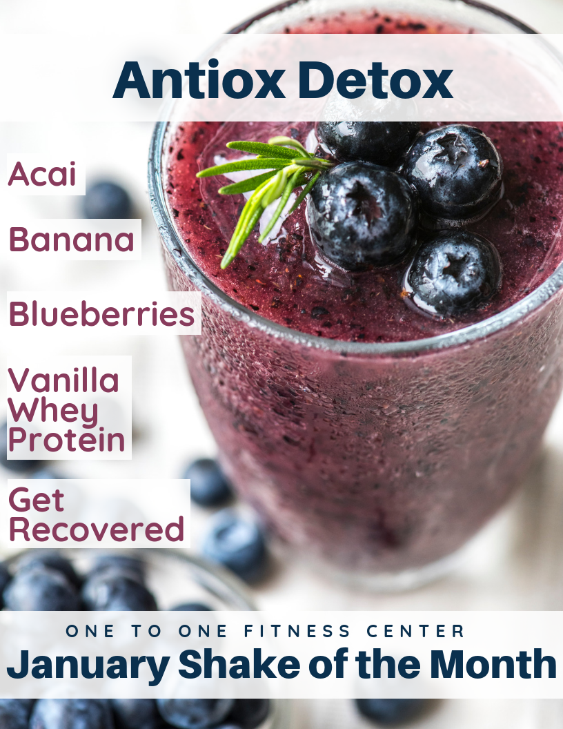 Antiox Detox January Shake of the Month. Blueberry and Acai shake closeup