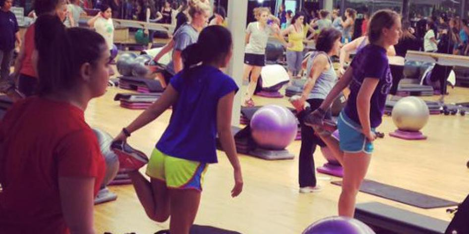 Group exercise class at 121 Fitness at Case Western Reserve University