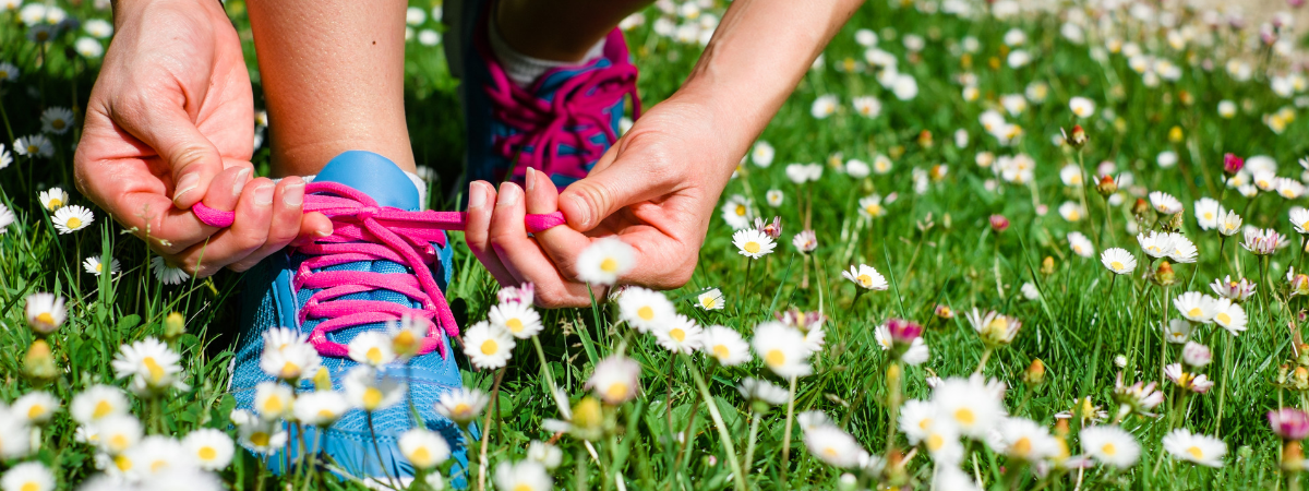 Blue shoe being tied in grass with white flowers