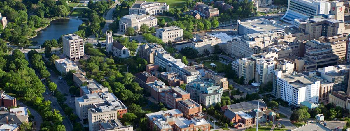 An aerial view of Case Western Reserve University.