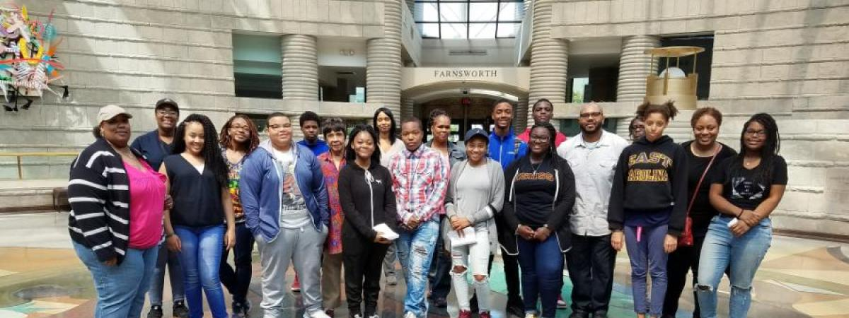 Group photo of the provost scholars' museum trip