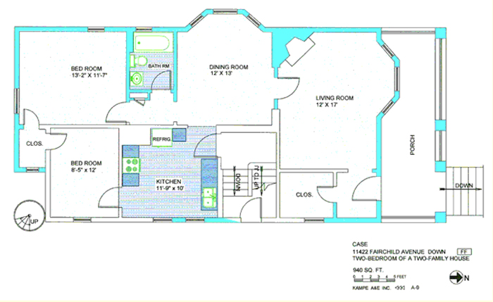 Floor plan in green and blue including bedroom, 13, 2 by 11, 7, bedroom, 8, 5 by 12, dining room, 12 by 13, living room, 12 by 17, porch, downstairs, closet, bathroom, kitchen, 11, 9 by 10, refrigerator, with text case 11422 Fairchild Ave down, two bedroom of a two family house, 940 sq ft, 1,2,3,4,5 feet, kampe aae inc, A-0, N arrow, and FF symbol
