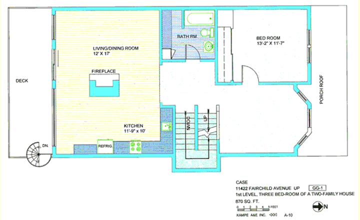 Floor plan in blue, yellow and green including three bedroom, 13, 2 by 11, 7, deck, living/dining room, 12 by 17, fireplace, kitchen 10 by 9 by 10, refrigerator, up and down stairs, spiral stairs, and porch roof with text case 11422 Fairchild Ave up, first level, three bedroom of a two-family house, 870 sq ft, N arrow, kampe aae inc, A-10, symbol GG-1