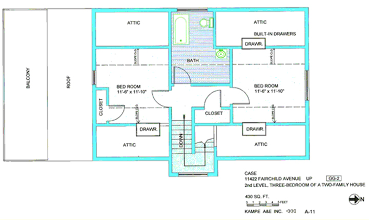 Floor plan in blue and green including two bedrooms, 11,6 by 11, 10, balcony, roof, 4 attics, three with build in drawers, two closets, and down stairs, with text case 11422 Fairchild Ave up, second level, three bedroom of a two-family house, 430 sq ft, N arrow, kampe aae inc, A-11, symbol GG-2