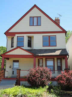 Creme and Red duplex home in University Circle, Cleveland Ohio