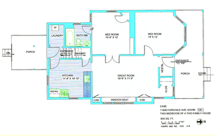 Floor plan in green and blue including porch, laundry, bathroom, kitchen, 11, 8 by 10, 10, refrigerator, great room, bedroom, 14 by 12, bedroom, 10, 8 by 12, great room, 15, 8 by 11, 9, entrance to kk, vestibule, closet, down stairs, downstairs basement, entrance to LL, laundry, washer, two cabinets, window seat, with text case 11426 Fairchild Ave down, two bedroom of a two family house, 834 sq ft, 0,1,2,3,4,5 feet, kampe aae inc, A-6, N arrow, and HH symbol