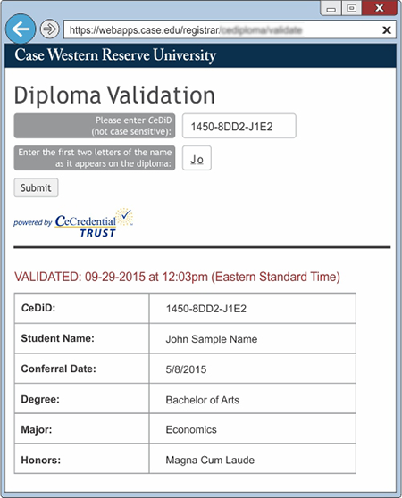 CWRU Diploma Validation