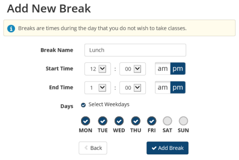 Adding breaks in schedule planner.