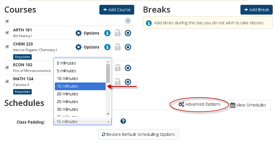 Adding break times to classes.