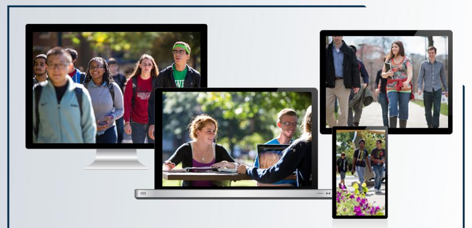 Various screen with CWRU students on each.
