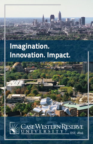 "Cover of the Economic Impact brochure with the CWRU campus and the words ""imagination. innovation. impact."""