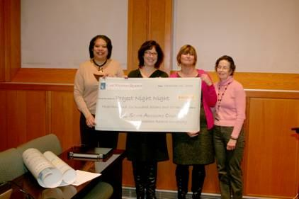 Members of the Case Western Reserve University Staff Advisory Council and representatives from Project Night Night holding a check