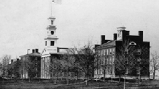 black and white image of CWRU campus
