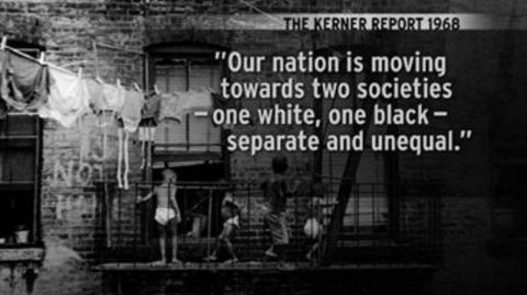 Black and white photo with quote from the Kerner Report about segregation
