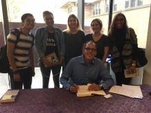 Photograph of CWRU students with author Bruce Western