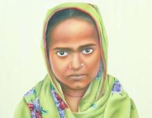 Painting of young Pakistani girl in green hijab