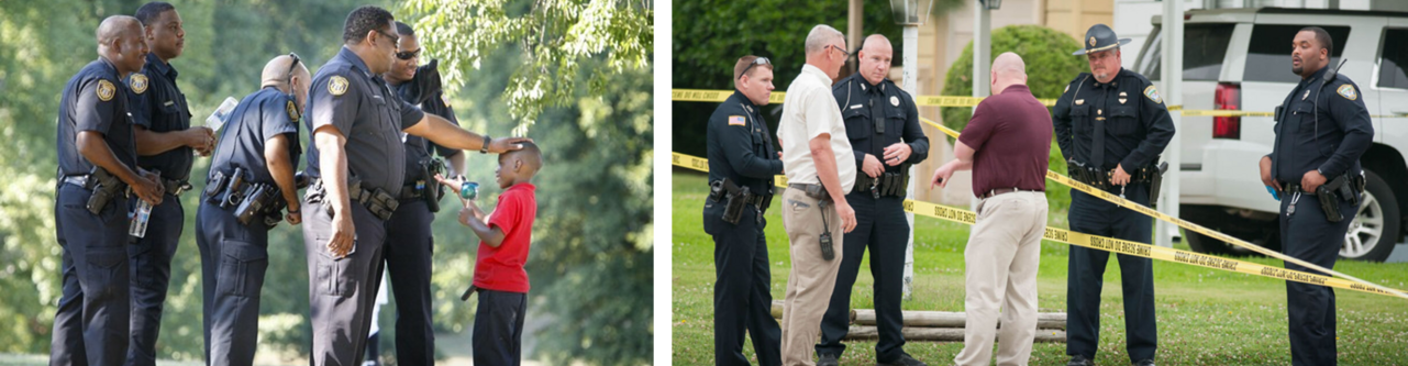 two images of law enforcement - officers interacting with a young boy, and officers interacting with two men