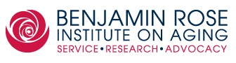 Image of logo of Benjamin Rose Institute on Aging in black letters, with red rose on left and words service, research, advocacy in red below with bullets between them