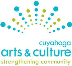 Image of logo of Cuyahoga Arts and Culture, with text in light blue with light green and light blue balls in arched pattern above, with caption strengthening community in light green below