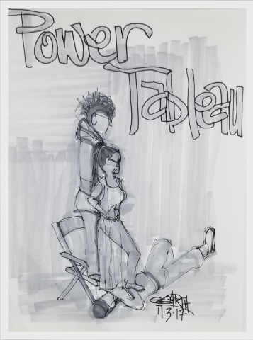 "drawing of a man and woman standing over the body of a man, words ""power tableau"""