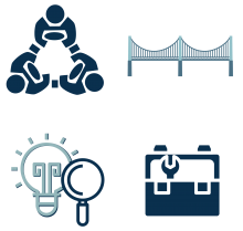 grid of four graphics, people in circle holding hands, bridge, lightbulb and toolbox