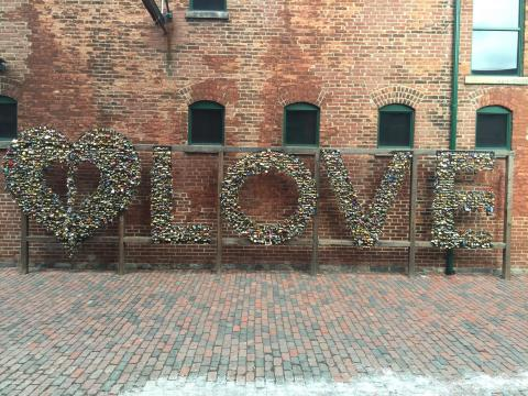 "The word 'Love"" created with flowers"